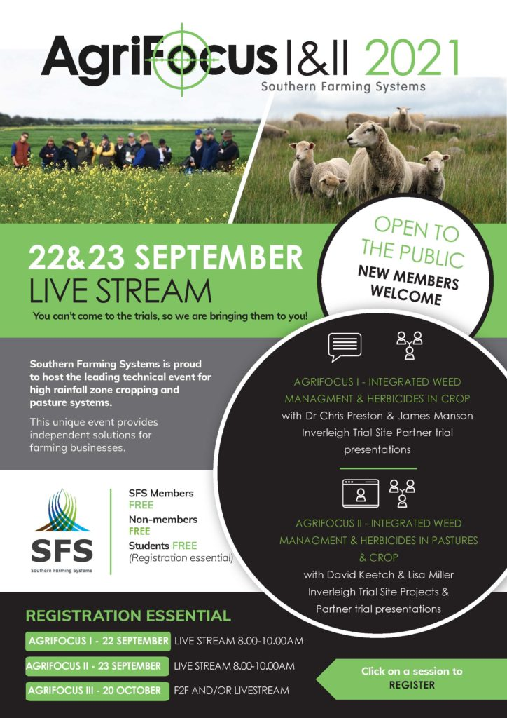 Flyer for Agrifocus 2021 with information about presentations. Registration essential. Click on the link the register.